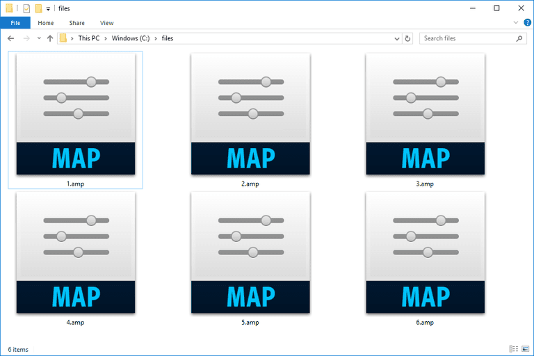 Screenshot of several AMP files in Windows 10 that open with Photoshop