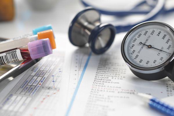 Doctors desk with patients test results