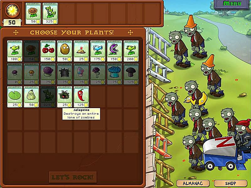 Plants vs Zombies is an addicting game where you have to choose certain plants to battle zombies.