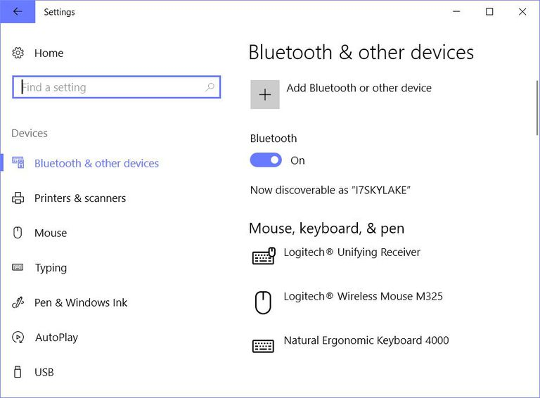 Windows 10 Settings showing Bluetooth is present and turned on