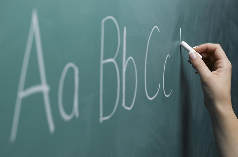 Woman writing alphabet on chalkboard