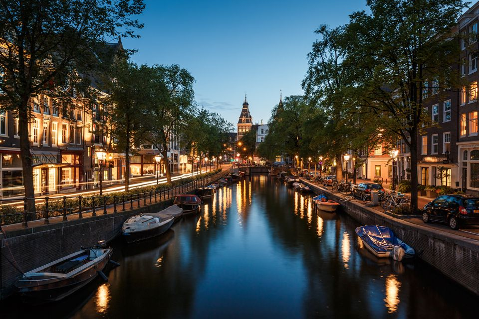 Amsterdam canal at dusk
