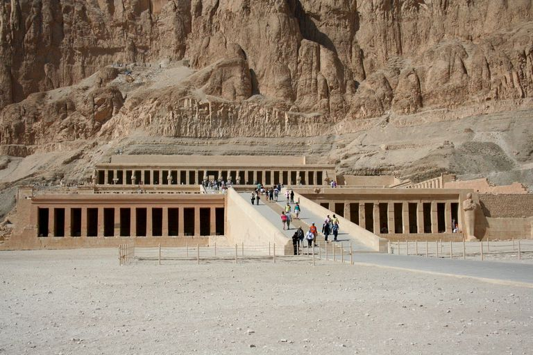 Queen Hatshetsup's temple. The Mortuary Temple of Hatshepsut, is known alternatively as the Djeser-Djeseru ('Holy of Holies'), it is an ancient funerary shrine in Upper Egypt.