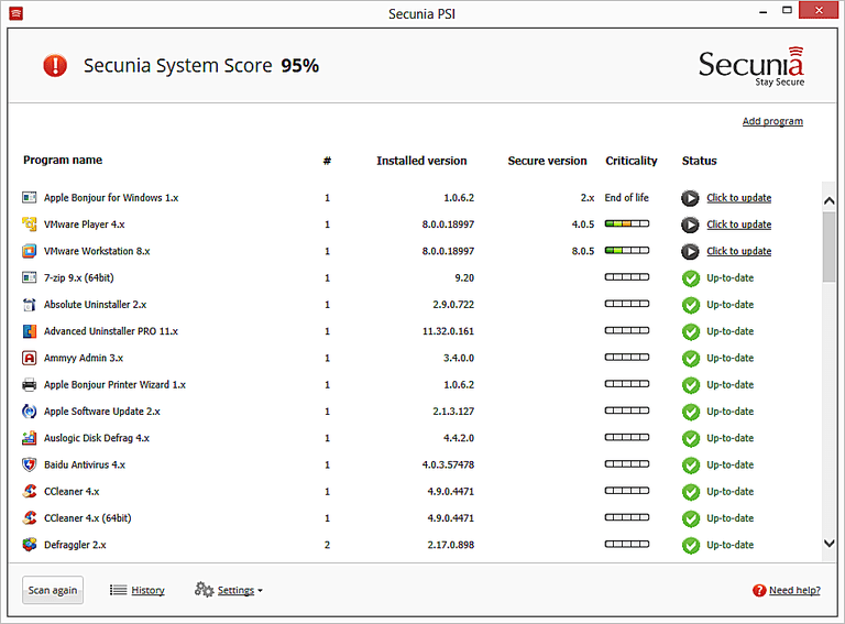 Screenshot of Secunia Personal Software Inspector v3.0 in Windows 7