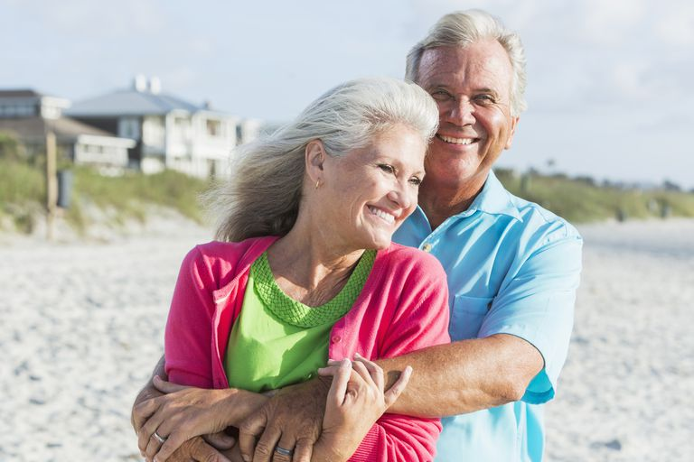 A senior couple on the beach.