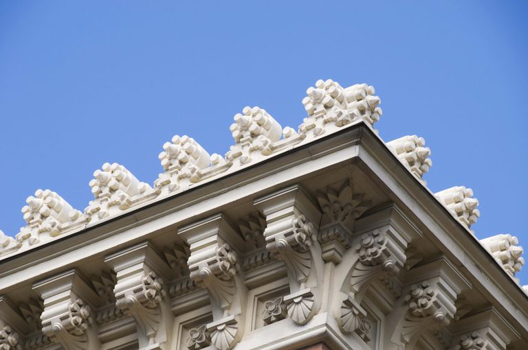 Detail Of A Building Cornice In Downtown Madrid Spain