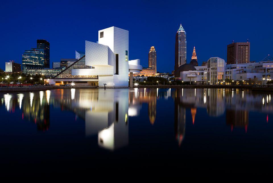 Night panorama of downtown Cleveland, Ohio, USA.