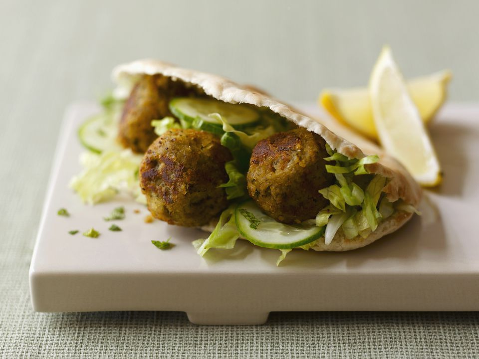 Falafel sandwich, close up