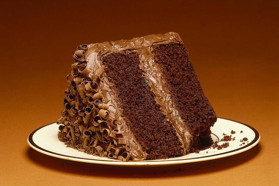 Heating Slice Of Chocolate Cake