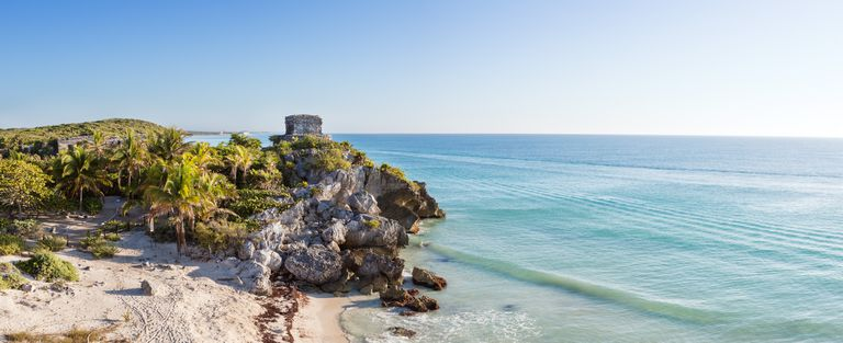 Panoramic of the mayan ruins of Tulum, Mexico