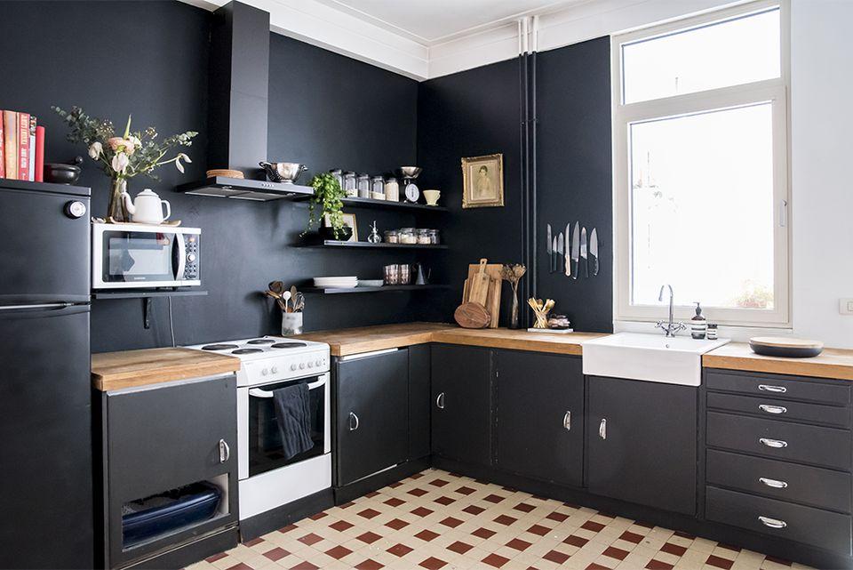 DIY black kitchen with check floor