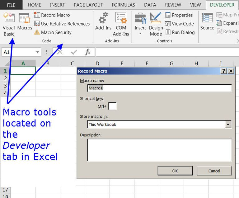 Using the Macro Development Tools in Excel