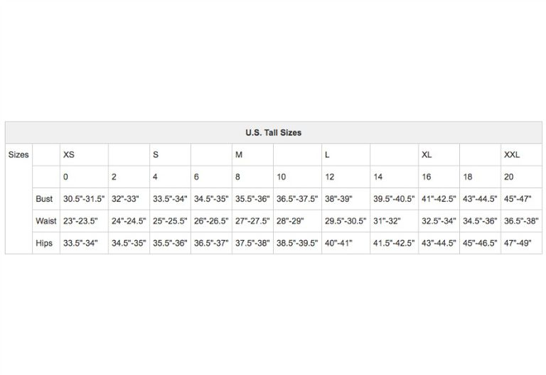 Us Womens Apparel Size Charts
