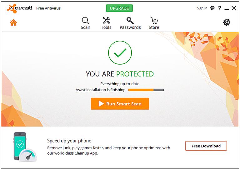 Screenshot of avast! Free Antivirus v11 in Windows 7