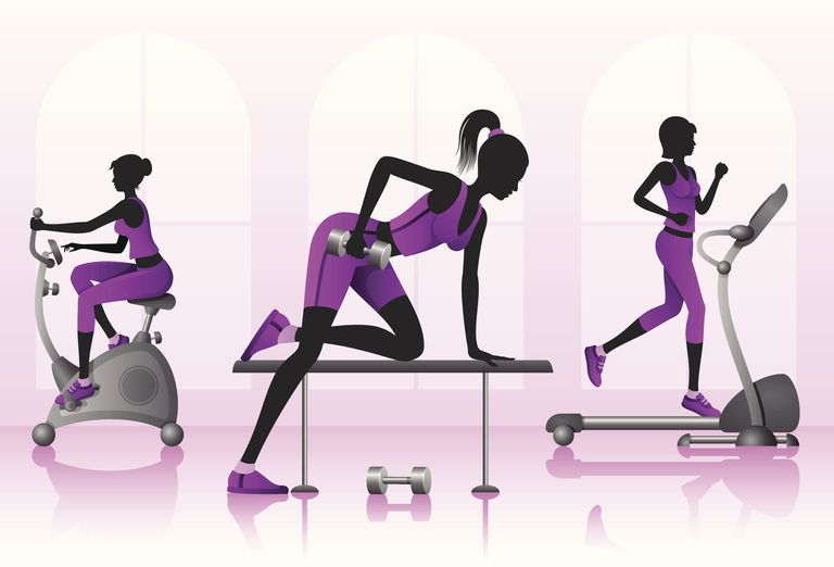 Illustration women working out at the gym
