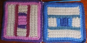 Two Crocheted Squares Joined With Slip Stitch, Viewed From the Right Side