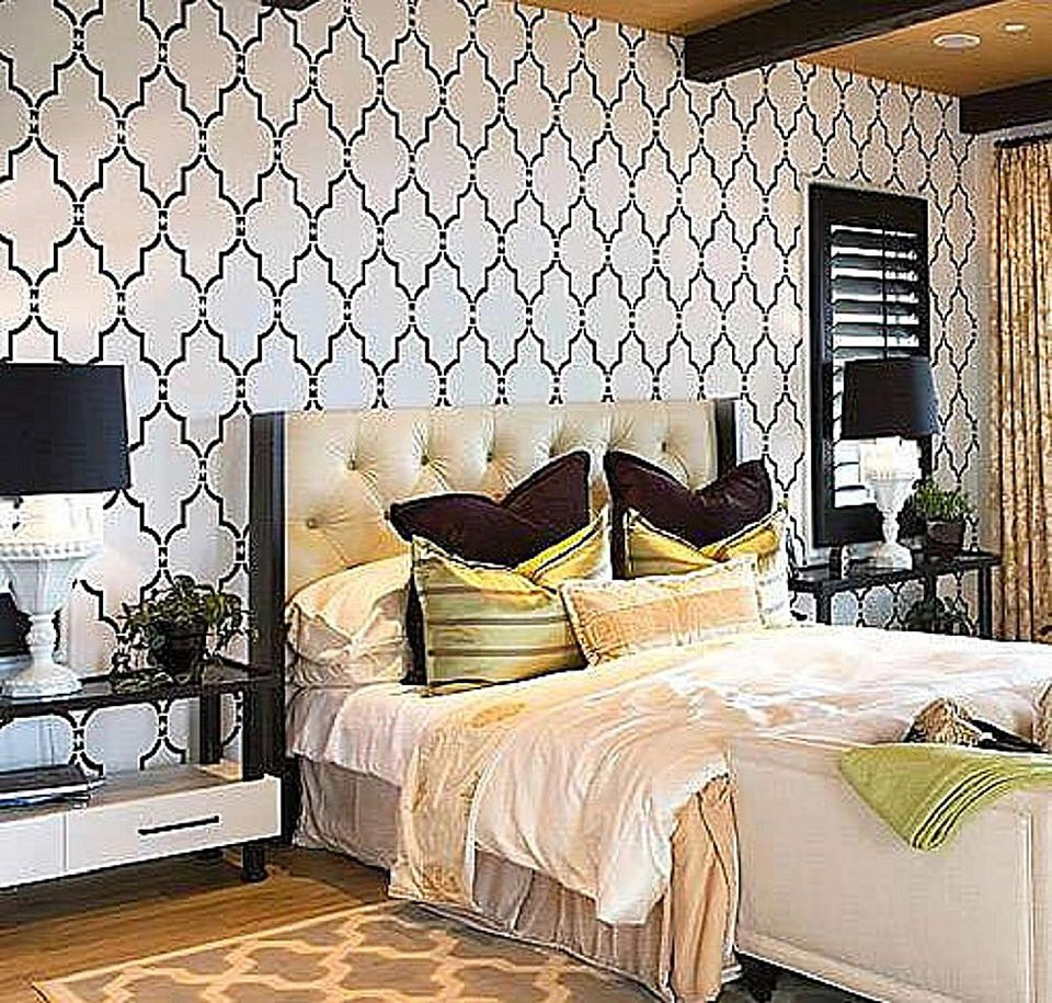 Trellis stencil for bedroom walls.