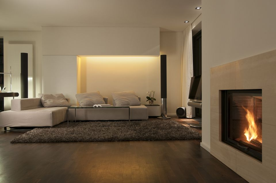 Modern living room with fireplace and wooden floor