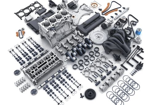Car engine disassembled into parts