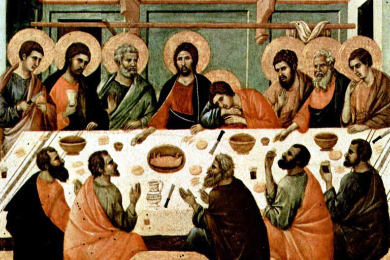 Last Supper, painting of Altar of Siena Cathedral in 14th century