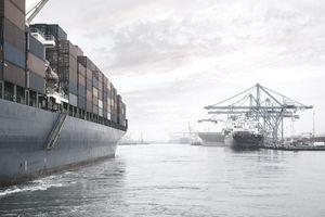 Container ship on river harbor, Tacoma, Washington, USA