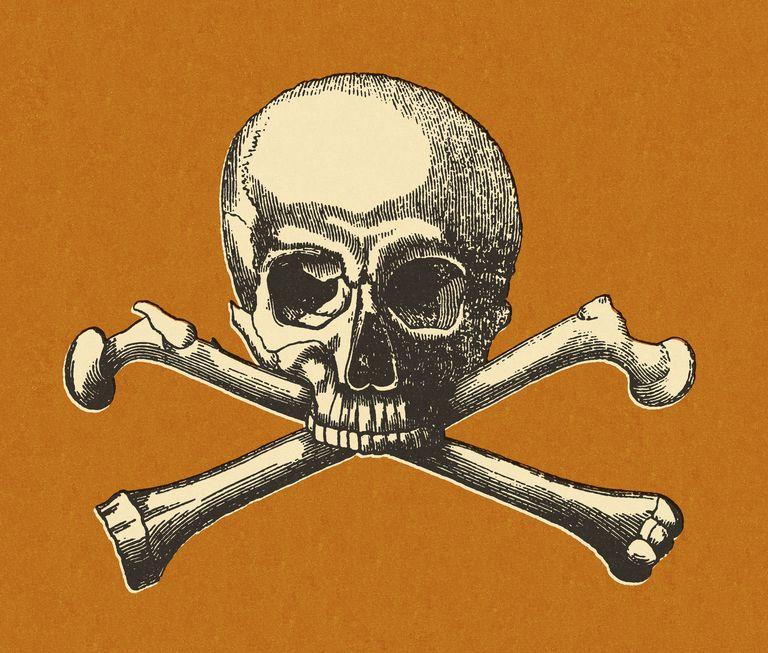 Skull and Crossbones on Orange Background