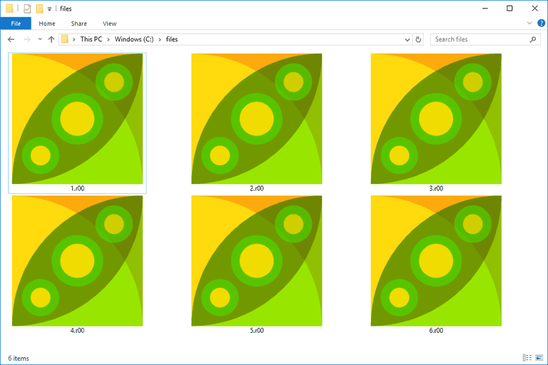 Screenshot of several R00 files in Windows 10 that open with PeaZip