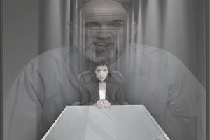 Businessman superimposed over cowering businesswoman