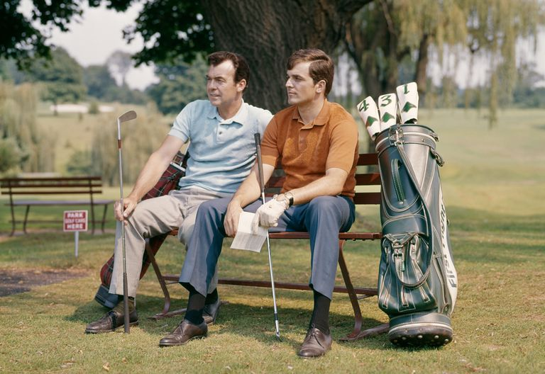 Two golfers waiting to tee off