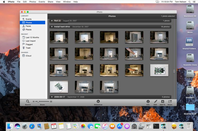 iPhoto version 9.6.1 running on macOS Sierra