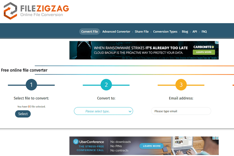 Screenshot of FileZigZag
