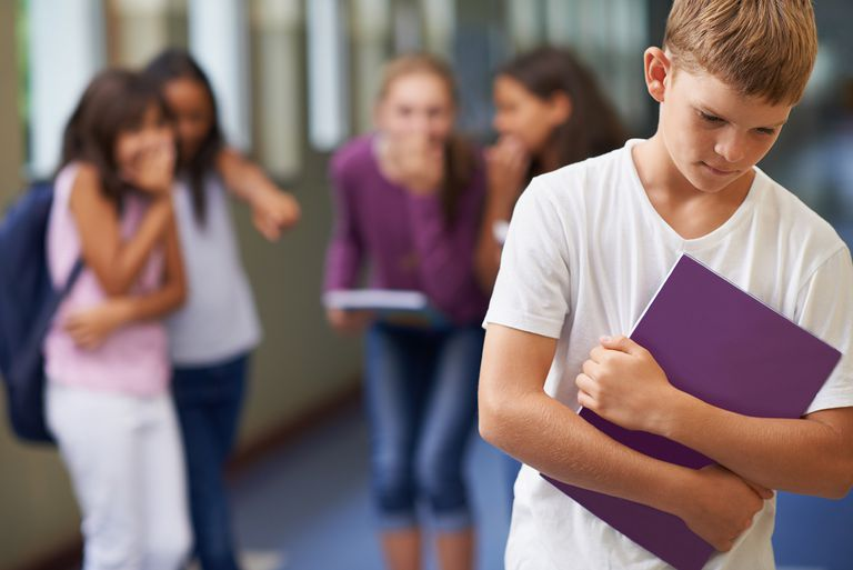 A young boy being bullied at school.