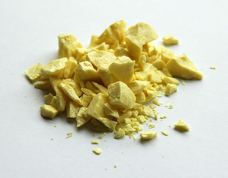 This is a sample of pure sulfur, a yellow nonmetallic element.