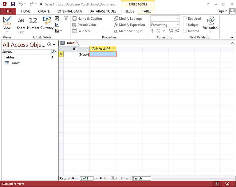 access will now present you with a spreadsheet style interface shown in the image above that helps you create your database tables - How To Design A Database From Scratch