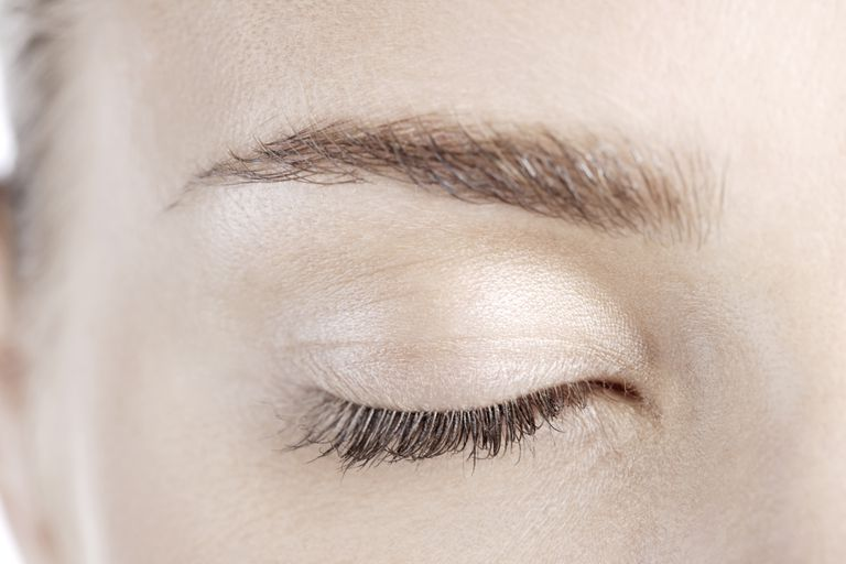Close-up of woman's eyelid