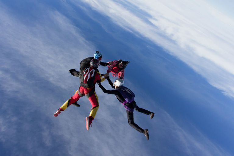 Skydivers assembling in a team formation in the sky