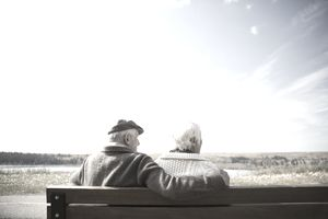 Senior couple sitting on bench looking at sunny autumn view