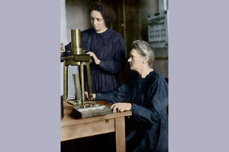 Marie Curie and daughter Irene, about 1925.