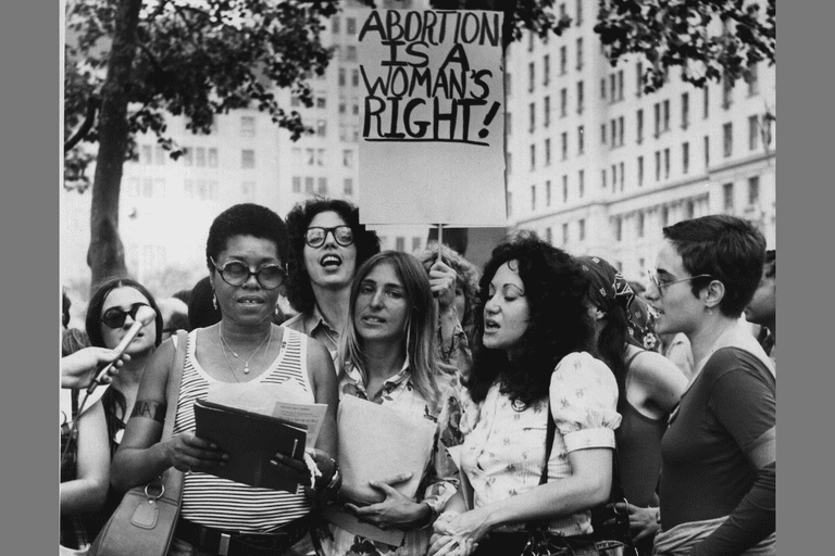 1972: Members of the New York women's Liberation Army demonstrate on a street corner to demand abortion rights