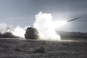Missile fired from Multiple Launch Rocket System (MLRS), White Sands Missile Range, New Mexico, USA