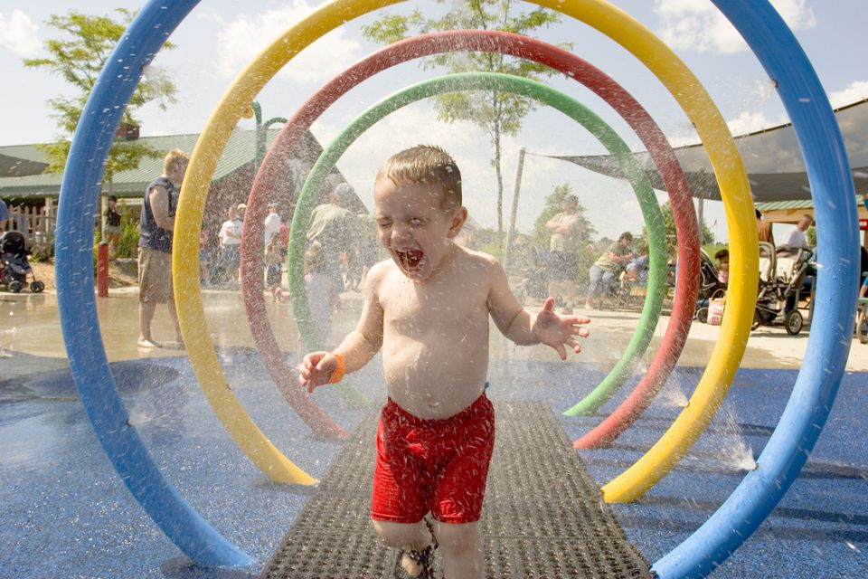 splash pads or spray parks are great fun for grandchildren