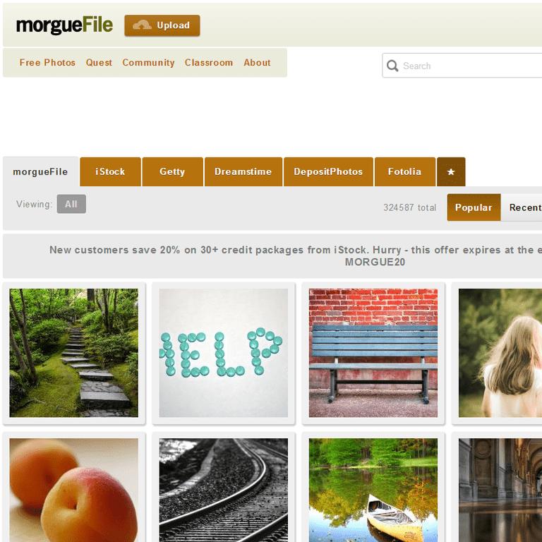 Screenshot of the morgueFile website