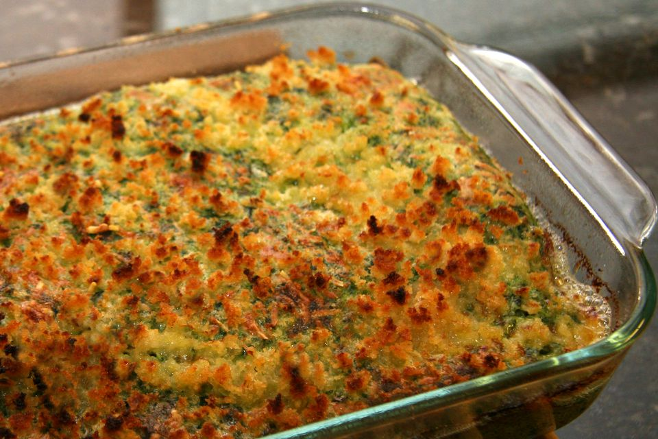 Chicken Bake with Spinach Souffle and Bread Crumb Topping