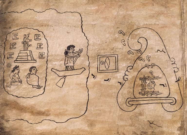 Migration of Aztecs to Tenochtitlan, drawing from Boturini Codex manuscript, Mexico, 16th century