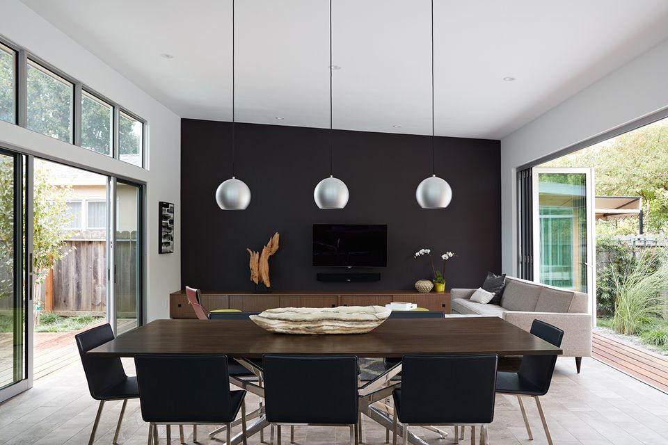 black wall in modernist living room - Modernist Living Room