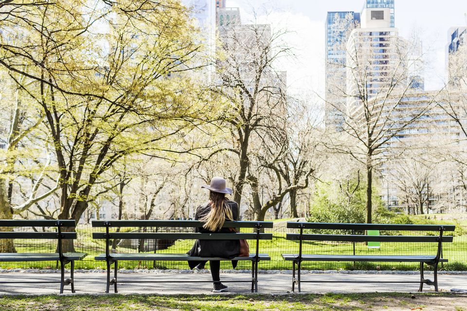 Rear view of woman sitting on bench at Central Park in city