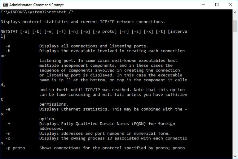 Screenshot of the netstat command in Windows