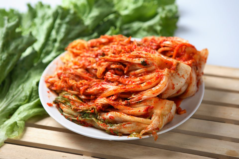 Kimchi dish served on a white plate