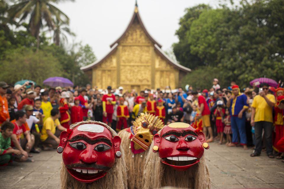 Bun Pi Mai in Wat Xiengthong, Luang Prabang.