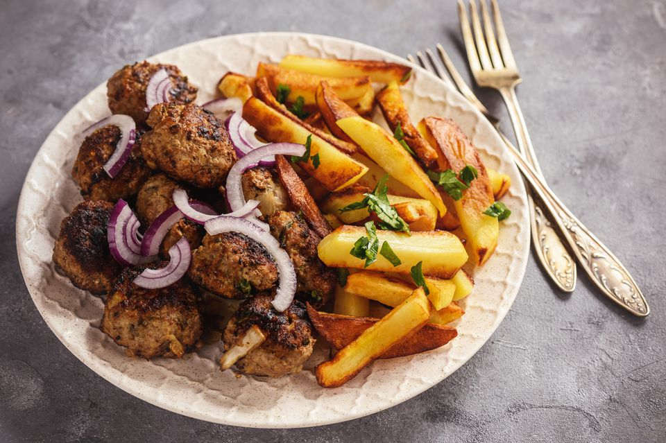 Meatballs and fries